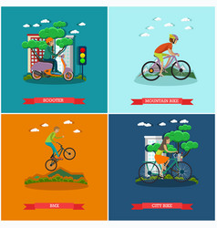 set of bicycle types concept posters in vector image vector image
