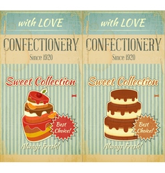 Set of retro menu with cake vector
