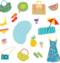 Summer funny pattern for woman with accessories vector