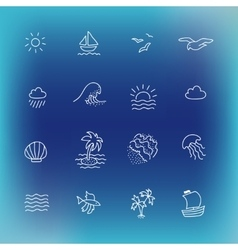 Summer icon set hand drawn design element vector image