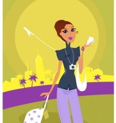 travel girl on airport vector image