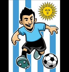 Uruguay soccer player with flag background vector
