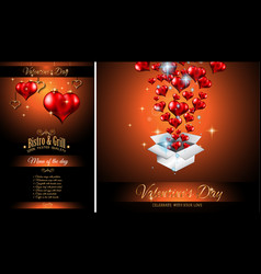 Valentines day restaurant menu template background vector