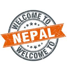 Welcome to nepal orange round ribbon stamp vector