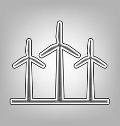 Wind turbines sign pencil sketch vector