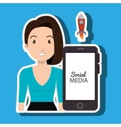 Woman social media apps vector