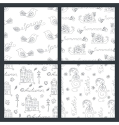 Set of seasonal seamless pattern vector