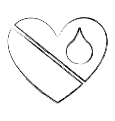 Heart with blood drop icon vector