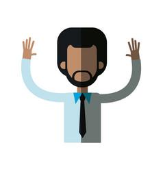 African man male hands up necktie shirt vector