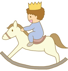Little prince riding on wooden rocking horse vector