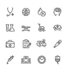 Medical icons set hospital and er line icons vector
