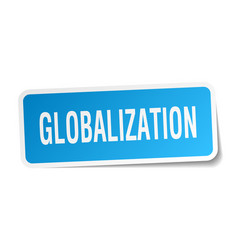 Globalization square sticker on white vector