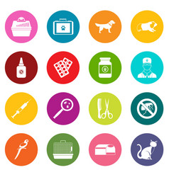 veterinary icons many colors set vector image