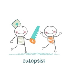 Autopsist with a saw vector