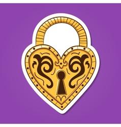 Heart lock vintage heart shaped object vector