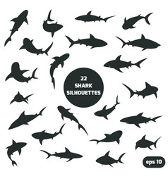 22 shark silhouettes set vector