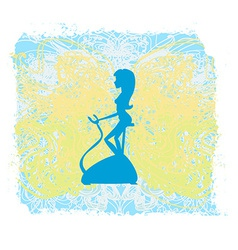 Girl on the exercise bike - grunge background vector
