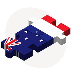Australia and france flags in puzzle vector