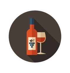 Wine flat icon with long shadow vector