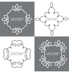 Floral outline frames and borders mono vector
