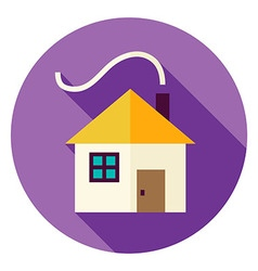 Flat Design House with Smoke Circle Icon vector image