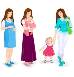 Young pregnant woman mother and toddler walking vector