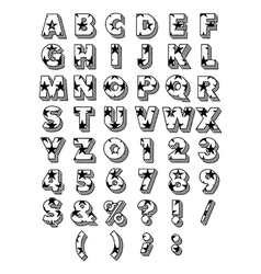Block font outline vector