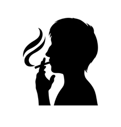 Smoker silhouette man with cigarette vector