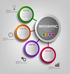 Info graphic with colored design circles poster vector
