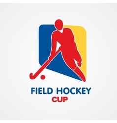 Field hockey cup logo sport badge with man vector