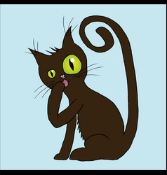 a cat licking its paw vector image