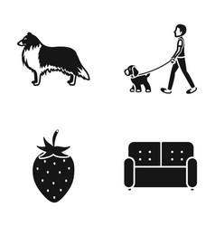 A dog a walk with a puppy and other web icon in vector