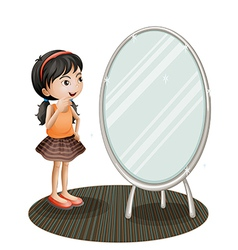 A girl facing the mirror vector image vector image