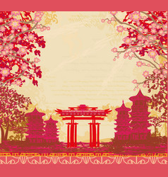 abstract asian landscape vector image