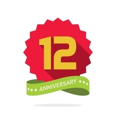 Anniversary 12 badge with shadow starburst and vector