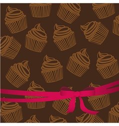 Background pattern of silhouettes of cupcakes with vector