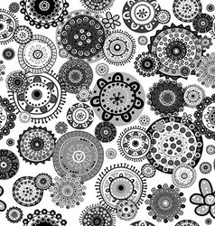 Black and white floral seamless over white vector image vector image