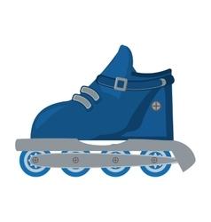 Blue roller skate hobby activity vector