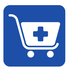 Blue white sign - shopping cart plus add icon vector