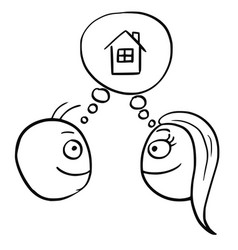 Cartoon of man and woman thinking planning vector