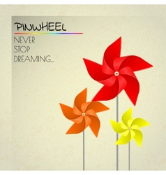 Colorful orange red and yellow pinwheels vector