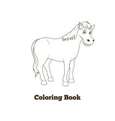 Coloring book horse cartoon vector