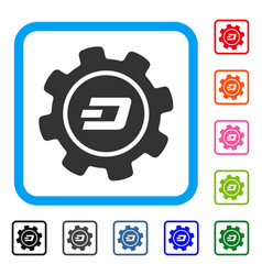 Dash settings gear framed icon vector