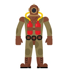 Diver old diving suit retro clothing for scuba vector