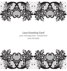 Elegant lace greeting delicate card black and vector