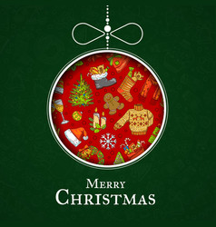 hand drawn christmas elements with santa vector image vector image