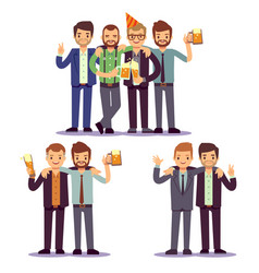 happy friends business people at party vector image vector image