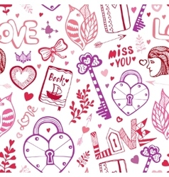 Happy Valentines day Cute doodle pattern with vector image