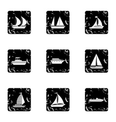 Maritime transport icons set grunge style vector