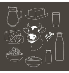 Milk set products vector